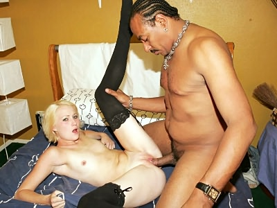 Blonde Spreading Wide bump a Black Cock