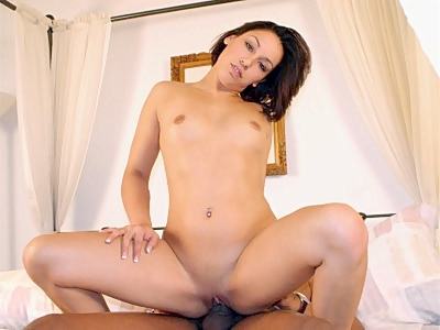 Lovely Latina Carmen Sancha is featured in this awesome interracial sex clip. Here this pretty Latina with an all natural body and a sweet face began by sucking off her partner's juicy black prick. Once it got stiff she climbed on top and rode it with her gash.